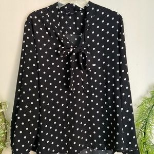 Polka dot bow tie business casual shirt